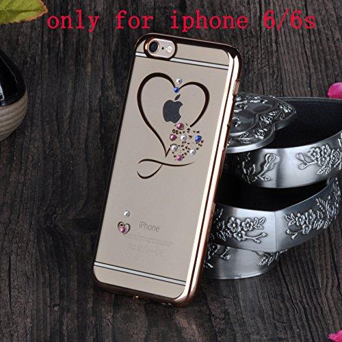 "Infinite U Jewellery Amour Cœurt Bling Strass Transparent Souple TPU Gel Case/Coque/Etui de Téléphone Mobile pour iPhone 6/6s 4.7"" Femme"