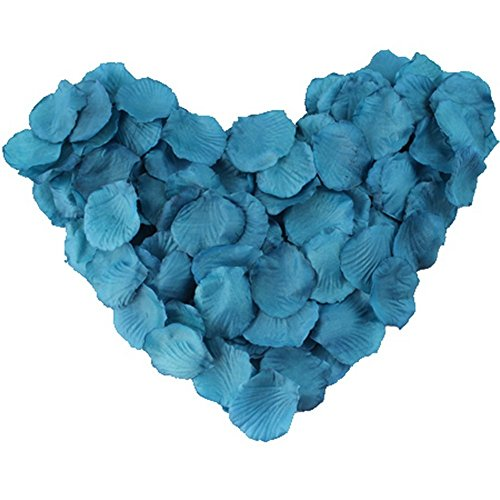 Blue Silk Rose Petals (EMAXELER [Broken Girls Flowers]1000pcs Dark Turquoise Blue Silk Rose Flower Petals for Wedding Table Confetti Bridal Party Flower Girl Decoration 1000pcs Dark Turquoise Blue)