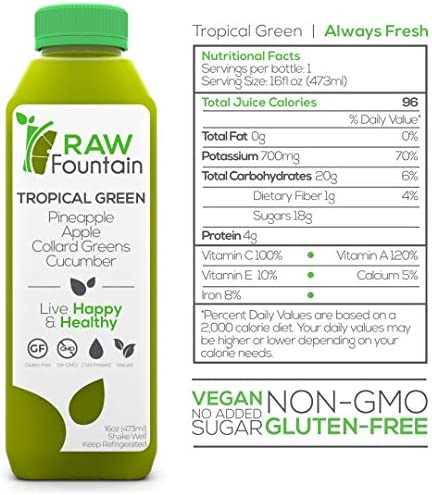 Raw Fountain 3 Day Green Juice Cleanse, All Natural Raw, Vegan Detox, Cold Pressed Juice, 18 Bottles 16oz, 3 Ginger Shots 4