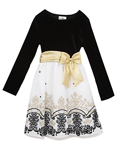 Rare Editions Girls' Big Velvet Bodice to Mesh Flocked Dress, Black/Ivory 7