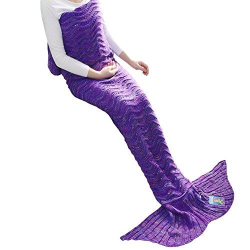 Mermaid Tail Blanket, DDMY Knit Crochet Mermaid Blanket for Adult, All Seasons Sleeping Bag Blanket, Wave Pattern 74''x35''