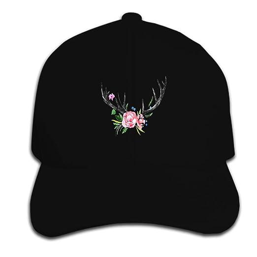 cf0260f654672 ROOMY Unisex Deer-Horns Baseball Cap Dad Hat Peaked Flat Trucker Hats