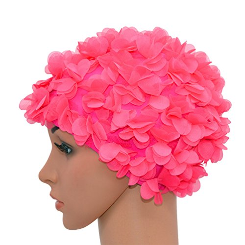 2f754123cf6 Medifier Lace Vintage Swim cap Floral Petal Retro Style Bathing Caps for  Women Rose (Rose