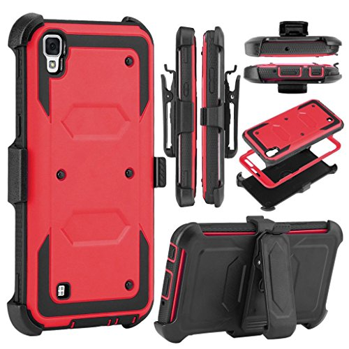 LG Tribute HD Case,LG X Style Case,LG Volt 3 Case,Free Screen Protector Tempered Glass Film,KooJoee[Belt Clip Serise][Kickstand]Heavy Duty Shockproof Dual-Layer Armor Drop Protection Case(Red) (Monitor Style Red Headphones)