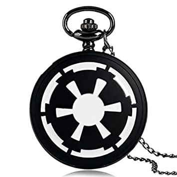 Poyrazs Cool Star Wars Pocket Watch Men Fashion Galactic Empire Badge Full Hunter Necklace Pendant Chain