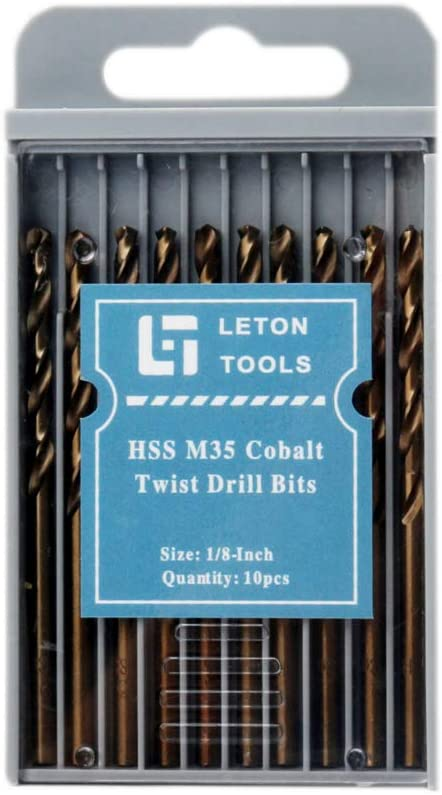 1//4, 6.5mm Pack of 10 LETON HSS M35 Cobalt Drill Bit Set