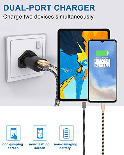 OTISA type C Cable for USB Plug ,[2-Pack 5 Foot/1.5Meter] Nylon Braided USB  C Cable,USB Type C Cable for Usb Charger Plug, Android Device
