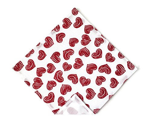 Red Glitter Heart Handkerchief Valentine's Day Pocket Square (Mens)