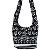 World End Imports Black & White Turtle Hobo Bag