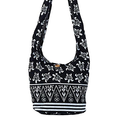 World End Imports Black & White Turtle Hobo Bag