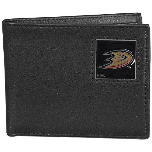 NHL Anaheim Ducks Leather Bi-Fold Wallet Packaged in Gift Box, Black ()