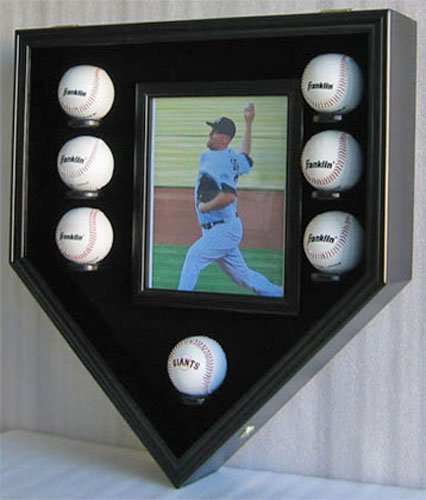 Baseball & Photo Display Case Wall Cabinet Shadow Box, Holds 8