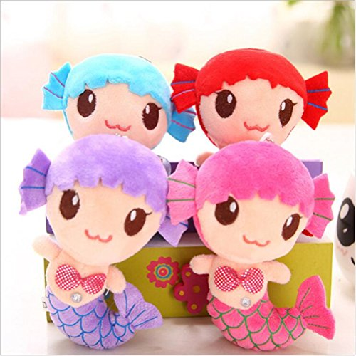 Dengguoli 4 Pack Cute Little Mermaid Princess Doll Stuffed Crystal Plush Toys Figures (About 6 Inch) for Baby Girls (Random (Cheap Plush Toys)