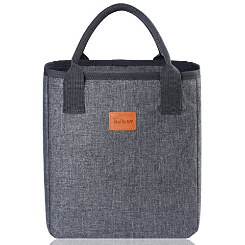 Lunch Tote Bags for Women,TianQin WY Insulated Reusable Lunch Tote Bag with Smooth Zipper Reusable Insulated Lunch Cooler Bag Handbags for Women Adults Use for Work,School,Picnic (Stylish Gray) (Carrier Strips Polyester)