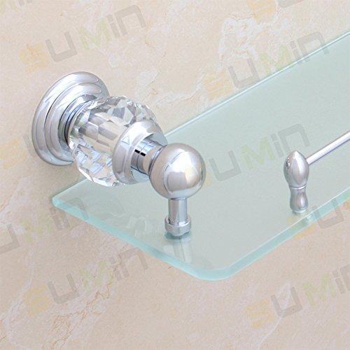 Sumin Home QC2213MC Modern Luxury Crystal Wall Mounted Wall Mounted Bathroom Glass Shelf, Chrome by Sumin Home (Image #2)
