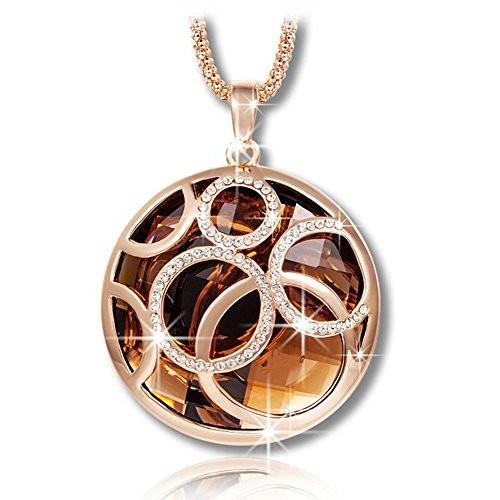 ShankMing Golden Life Rolling Ball Brown Austrian Crystal Pendant Necklace with Rose Gold 31 INCH