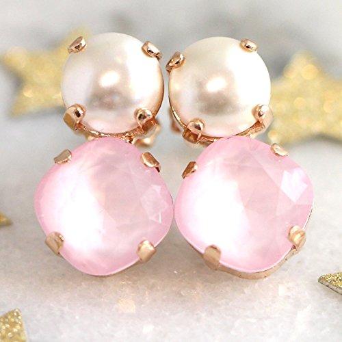 Swarovski Crystal Quartz Earrings (Bridal Pearl Rose Quartz Drop Stud Earrings, Swarovski Crystal Rose Gold Bridesmaids Earrings, Handmade Wedding Jewelry)