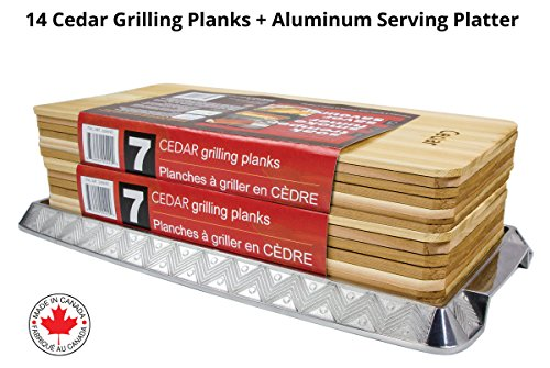 Coastal Cuisine 14 Pack 7x16'' Cedar Grilling Planks + Aluminum Serving Platter – Perfect for any grilling enthusiast.  Enjoy delicious restaurant quality meals and a stunning presentation. by Coastal Cuisine