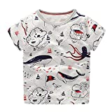 LuckyRabbit Little Boys Short Sleeve Cotton T Shirt Summer Top (sea) 5T
