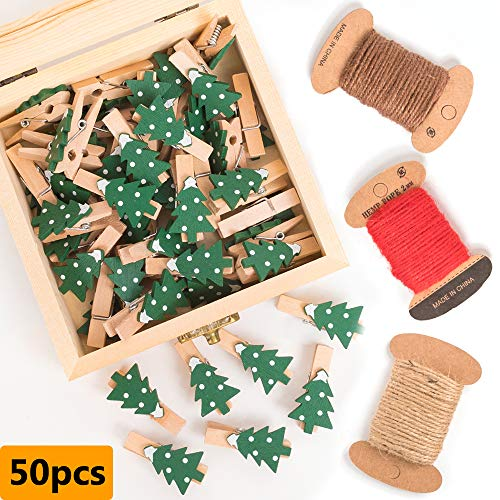 HOHOTIME Wood Christmas Photo Clips 50pcs with Wooden Box, 1.37 Inch Wood Mini Clothespins with 3 Rolls of Jute Twine for Photo, DIY, Hand Craft, Christmas Decoration (Christmas Tree 50pcs)