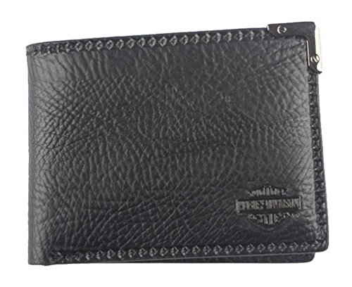 s Gunmetal Leather Billfold w/ Removable ID GM6538L-BLACK ()