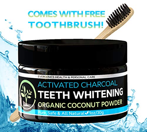 Activated Charcoal Teeth Whitener From Organic Coconut Powder. Fast, Gentle and Safe Whitening. Includes Free Premium Bamboo Toothbrush.