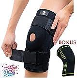 X-Large Knee Brace + Bonus Compression Knee Sleeve - Knee Braces for Men & Women - Wrap Either knee - Miniscus - Arthritis - ACL - PCL Injuries