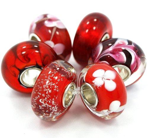 6 Beads of Valentine's RED Murano Glass Beads Fits Pandora Troll Chamilia Carlo Biagi Zable