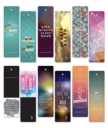 Bookmark Day Mothers - Fathers' Day Sales! 60 pcs Encouraging Bookmarks Set - Colorful Cool Bookmark- Best Gift for Him and Her - Inspirational - Positive Thinking Bookmarks