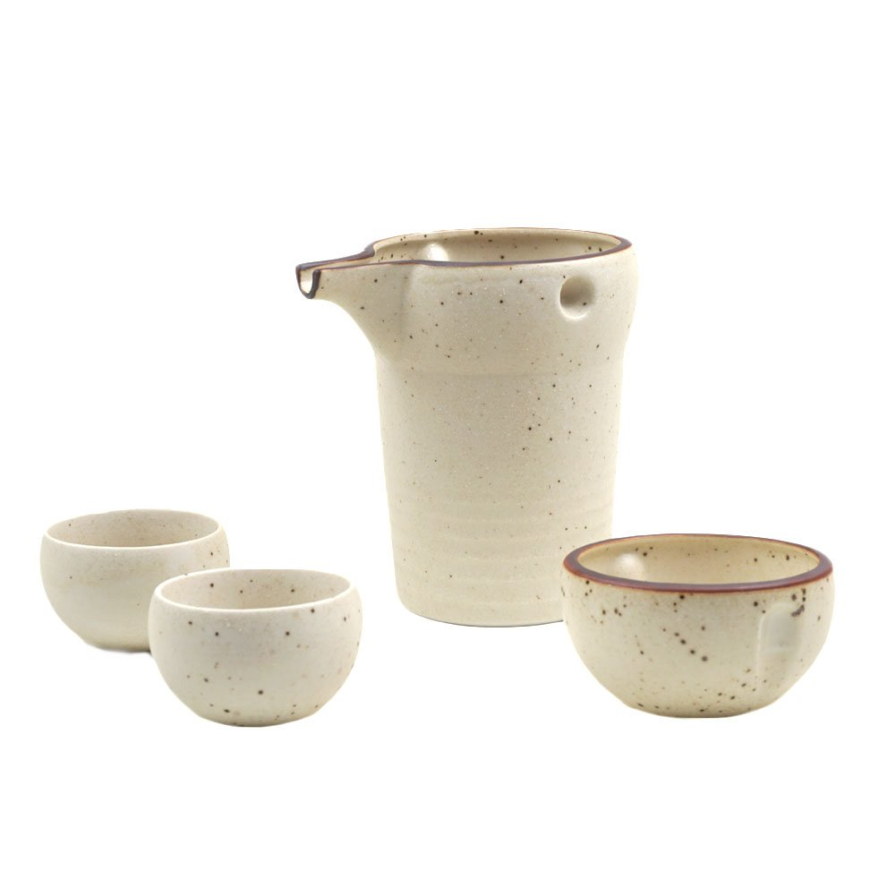 Mino-yaki Japanese Pottery Sake Set 12 oz Sake Carafe & 2 Guinomi Sake Cups - White (Matte Finish) [Japanese Crafts Sakura]