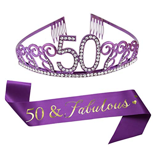 Birthday Sashes And Tiaras (50th Birthday Purple Tiara and Sash Purple Glitter Sash Crystal Rhinestone Tiara Crown for 50th Birthday Party Supplies Favors Decorations Cake)