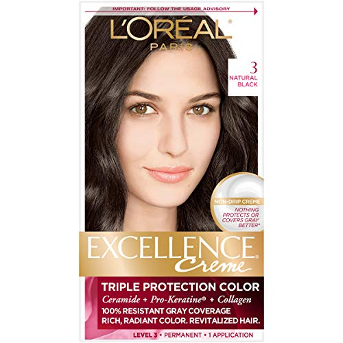 L'Oréal Paris Excellence Créme Permanent Hair Color, 3 Natural (Loreal Excellence Creme Triple Protection)