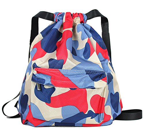 Swimming Drawstring Beach Bag Sport Gym Waterproof Backpack Duffle Pink - 3