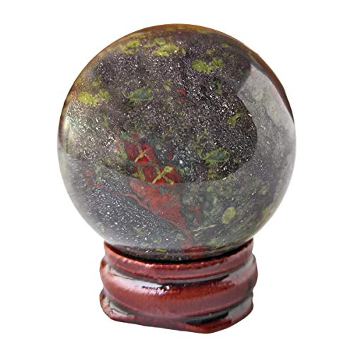 (Loveliome 40 mm Dragon Bloodstone Healing Crystal Divination Sphere, Home Decoration Fengshui Ball with Wood Stand)