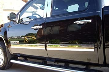 Made in USA Works with 07-13 Chevy Silverado//GMC Sierra Crew Cab 5.8 Bed Body Side Molding Trim 1.5 Wide 4PC