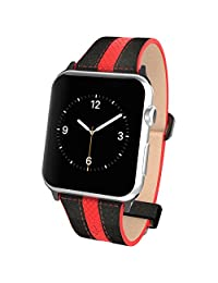Apple Watch Pebble Leather Dual Material Band, Poetic [Premium Leather] Apple Watch 42mm Replacement Band **NEW** [Volante] - Premium Material Pebble Leather with Quilted Leather and Red Sport Stitching Design and Wide Band with Integrated Metal Clasp for Apple Watch 42mm (2015) - Black/Red (3-Year Manufacturer Warranty From Poetic)