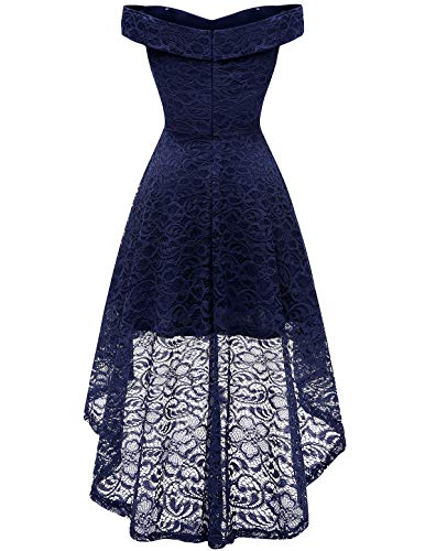 Homrain Women's Wedding Formal Casual Dresses Off Shoulder Vintage Floral Lace Hi-Lo Bridesmaid Dress
