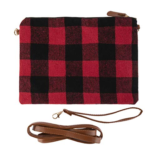 Vegan Leatherette Clutch Flat Pouch Purse - Travel Convertible Bag Wallet Shoulder-Crossbody Wristlet Strap Plaid Fabric (Convertible Clutch - Plaid Fabric Red)