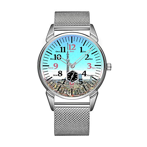 Fashion Men Watch Silvery Stainless Steel Waterproof Watch Men Top Brand Luxury Men's Watch Clock Bilingual Tokyo Tower Skyline - English Spanish Wristwatch (Telling Time In Spanish 24 Hour Clock)