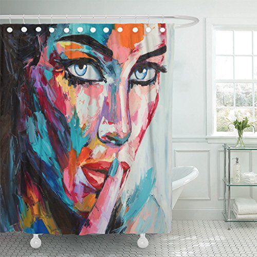 TOMPOP Shower Curtain Fine Original Oil Painting on Canvas From Colorful Emotions Series Fantasy Woman Portrait Face Secret Waterproof Polyester Fabric 72 x 72 inches Set with Hooks
