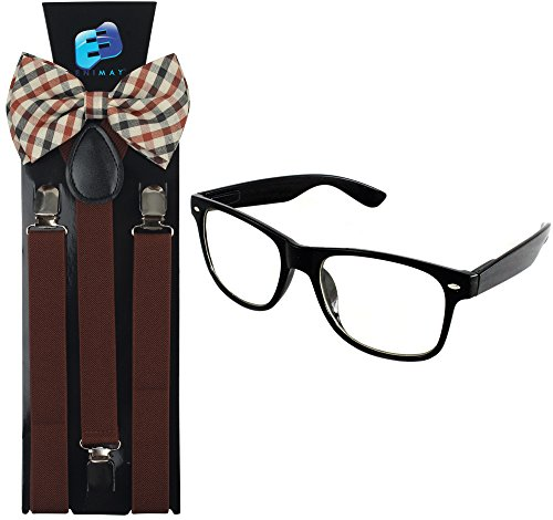 Enimay Suspender Bowtie Wayfarer Clear Glasses Nerd Costume Halloween Brown - Nerd For Halloween