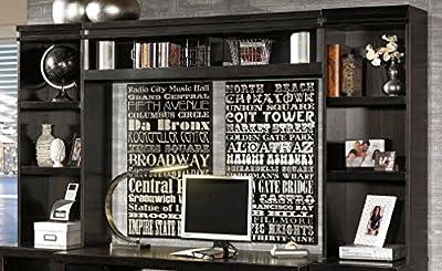 Ashley Furniture Signature Design Trishelle Home Office Open Narrow Hutch, Dark Brown