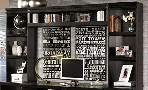 Ashley Furniture Signature Design   Trishelle Home Office Open Narrow Hutch   Contemporary Living   Dark Brown
