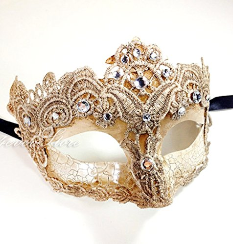 Toga Party Special - Venetian Goddess Masquerade Mask Made of Resin, Paper Mache Technique with High Fashion Macrame Lace & Rhinestones [Ivory]