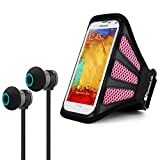 Workout Entertainment Kit Includes [Pink] Media Device Armband + Wireless Stereo Headphones for Samsung Galaxy S8, S8+, S9, S9+, Note 8, 9