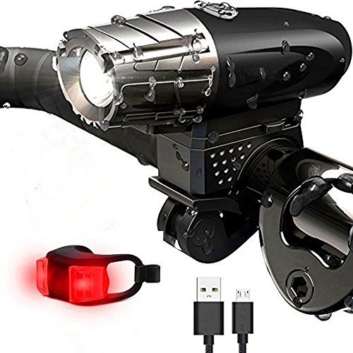 yyan Bicycle Headlight Tail Light Set Bright LED Bike Front Rear USB Rechargeable
