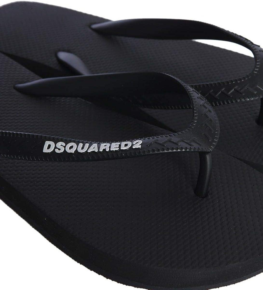 Spring Summer 20 DSQUARED2 Luxury Fashion Mens FFM0001172000012124 Black Flip Flops