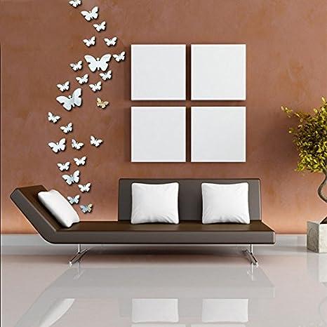 Butterfly parete superficie a specchio soggiorno TV parete camera da ...