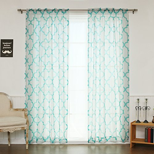Best Home Fashion Faux Sheer Gauzy Linen Reverse Moroccan Print Curtains – Rod Pocket – Blue – 52″W x 96″L – (Set of 2 Panels)