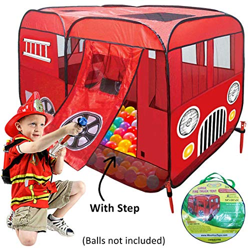 Large Fire Truck Pop-Up Play Tent (with Step) at Front Door - Great for Ball Pit - Children can Pretend to be Fireman Sam – Great Fire Engine Playhouse for Kids to Play Indoor or Outdoor, Can Add Crib -